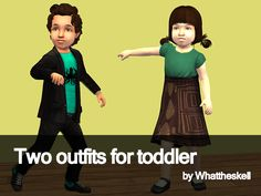 """totallymaxis:  """"Two new outfits for toddlers by Whattheskell: a conversion of the seasons rockstar outfit for PU with Phobia's textures, and a dress for PF based on the TSS """"elite"""" dress."""" Download"""