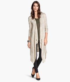 H&M – Long fine knit cardigan in light gray cotton blend