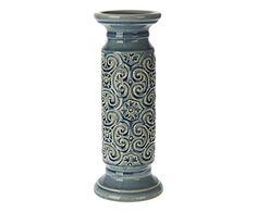 Portacandela in ceramica blu, 12x12x32 cm