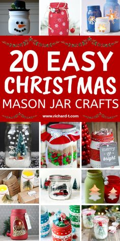 20 Easy and AMAZING Christmas mason jar crafts that you can make yourself! These Christmas mason jars are MAGICAL!! #ChristmasDIY #christmasmasonjars #christmasmasonjarcrafts #christmascrafts