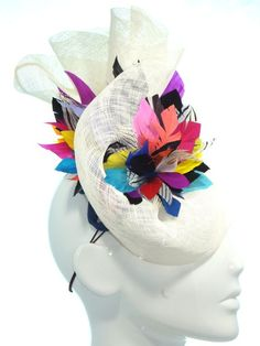 Rainbow feathers and white sinimay - Bonnie Evelyn Millinery