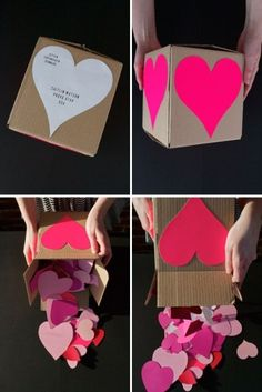Valentine's: Send a Crafty Heart Attack – write something you love about your valentine on each heart!--- I'm not one for Valentine's Day but I love this idea Valentines Bricolage, Valentines Diy, Valentine Day Gifts, Funny Valentine, Valentines Day Care Package, Homemade Gifts, Diy Gifts, Holiday Crafts, Holiday Fun