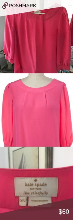 Kate Spade pink blouse Kate Spade pink blouse - size XS. 100% silk. Wear on the buttons, but otherwise like new condition. kate spade Tops Blouses
