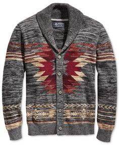 Create an enviable, cool-weather casual look with the warm shawl collar, soft marled cotton and bold geometric patterns of this Southwest cardigan from American Rag. | Cotton | Machine washable | Impo