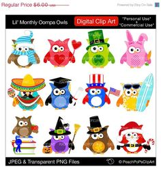 50% OFF SALE cute holiday owls clipart digital Christmas Easter Halloween - Lil Monthly Oompa Owls - Digital Clip Art
