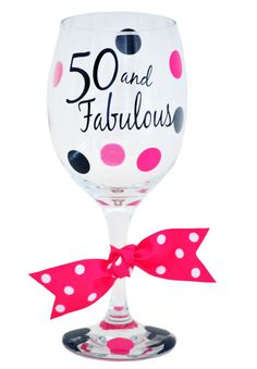 Fancy 50 and Fabulous Wine Glass love this cause I like the black and hot pink together