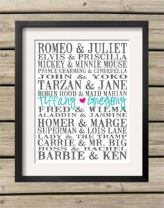 Personalized Subway Art Print Famous Couples by KoalaPrintworks, $18.00