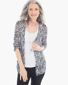 Chico's Women's Graphic Side-Ruched Rita Cardigan, Black/Optic White,