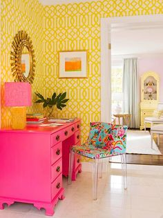 ⋴⍕ Boho Decor Bliss ⍕⋼ bright gypsy color & hippie bohemian mixed pattern home decorating ideas - hot pink desk against bright yellow walls for home office space