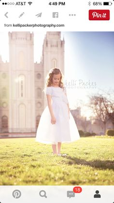 Take a temple photo in their white clothes for Baptism Baptism Photography, Children Photography, Photography Ideas, Lds, Baptism Announcement, Baptism Pictures, Baby Blessing, Baptism Dress, First Communion
