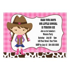 Cowgirl Birthday Party Custom Invitation