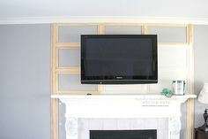 Great tutorial on cheater-method TV mounting and cord hiding fireplace Hide Tv Cords, Hide Wires, Tv Over Fireplace, Fireplace Redo, Tv Mounted On Fireplace, Simple Fireplace, Fireplace Remodel, Fireplace Ideas, Swivel Tv Stand