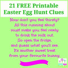 Make this Easter the easiest yet with our 21 Easter Egg Hunt Clues in rhyming riddle format. Download our FREE printable PDF from www.simplyfunfamilies.com