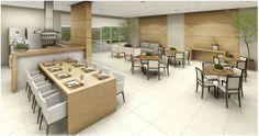 Espaço Gourmet com Churrasqueira!!! Salão, Varandas e Quiosques! Conference Room, Casa Clean, Table, House, Furniture, Design, Home Decor, Gourmet Cooking, Concrete Kitchen