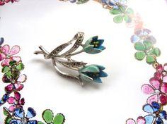 Vintage 1950s Bright Blue Enamel & Marcasite Tulip by jojodebulmer
