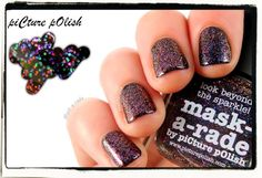 piCture pOlish Mask-a-rade layered over black mani creation by Naildarella! So beautiful!