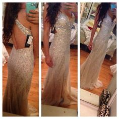 A-line, V-neck, Strap, Long, Chiffon Skirt, Formal Dresses, Crystal Beaded From Dresses, Sparkly Gowns