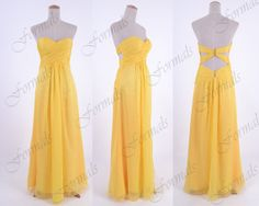Strapless Long Chiffon Yellow Prom Dresses Evening Gown by Formals, $139.00