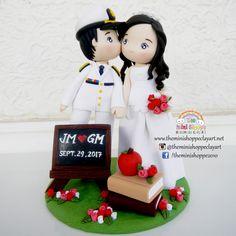 POLYMER CLAY  Customized Wedding Cake Topper  Seaman Groom & Teacher Bride Custom Wedding Cake Toppers, Wedding Cakes, Polymer Clay Cake, Cake Art, Groom, Teacher, Wedding Ideas, Bride, Christmas Ornaments