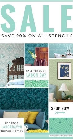 Labor Day Weekend Sale! 20% off ALL STENCILS now through 9/7/15!!!! Code LABORDAY20