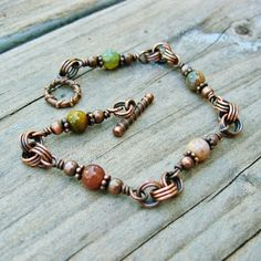 Fancy Jasper Stone Beads and Antiqued Copper Wire Wrapped Bracelet -  with toggle clasp closure