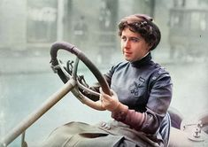 Pioneer woman race car driver. Colorized by Steve Smith Colorized Historical Photos, Colorized History, Black N White Images, Black And White, Elizabeth Cady Stanton, Women Drivers, Steve Smith, Japanese American, National Archives