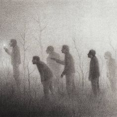 Night Imagined As A Human-like Figure In New Black And White Illustrations By David Álvarez David Alvarez, Shadow Illustration, Hansel Y Gretel, Black And White Painting, Sketch Inspiration, Black And White Illustration, Dark Art, Illustrators, Fantasy Art