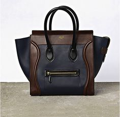 Navy and chestnut. For a more interesting neutral. Celine.