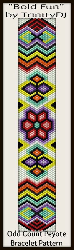 """Bold Fun"" - In The RAW - New pattern listed. Here's your chance to test bead new designs and earn DISCOUNTS on your next 'In the Raw' Design! Please follow this link for the direct download and/or kit: http://cart.javallebeads.com/Bold-Fun-Odd-Count-Peyote-Pattern-p/td110.htm"