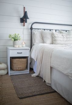 See my neutral fall decor in my farmhouse bedroom and kitchen. I use white pumpkins, candles and knit blankets to keep it cozy and neutral. Farmhouse Bedroom Decor, Country Farmhouse Decor, Farmhouse Style Decorating, Home Decor Bedroom, Bedroom Ideas, Country Bedrooms, Farmhouse Design, Fall Home Decor, Diy Home Decor