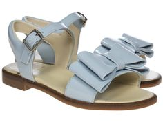 Panache Double Bow Sandal Pale Blue Patent