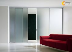 The aluminum Light 00 Sliding Door is a modern sliding glass door for commercial or residential interiors. This modern sliding door offers a series of sophisticated design solutions for dividing space–as room dividers. Interior Sliding Glass Doors, Sliding Door Panels, Door Design Interior, Interior Barn Doors, Home Interior, Modern Interior, Interior Decorating, Decorating Ideas, Modern Closet Doors