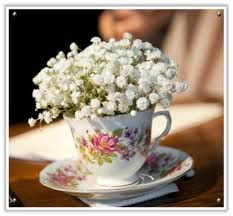 tea and cup with flowers