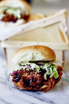 Slow Cooker Cherry Chipotle Pulled Pork with Cilantro Lime Slaw - in sock monkey slippers