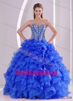 Beautiful Ruffled Sweetheart Organza Sweet Sixteen Dresses in Blue