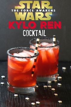 Inspired by the 2015 Star Wars: The Force Awakens, this Kylo Ren Cocktail is a tequila-based drink. Brightened by grenadine and black rimmed sugar.