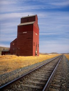 Grain Elevator and rails, McNab, Alberta, Canada O Canada, Alberta Canada, Canada Travel, Travel Usa, Agriculture, Canadian Prairies, Canadian Rockies, Barn Pictures, Western Canada