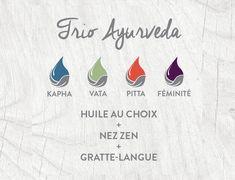 Le trio Ayurveda est composé d'une huile corporelle au choix (Vata, Pitta, Kapha ou Féminité), une huile nasale Nez Zen et un gratte-langue. Idéal pour s'initier aux rituels ayurvédiques et à l'abhyanga.#ayurveda #dosha #pitta #kapha #vata Ayurveda Pitta, Stress, Zen, Nature, Insomnia, Take Care Of Yourself, Language, Anxiety