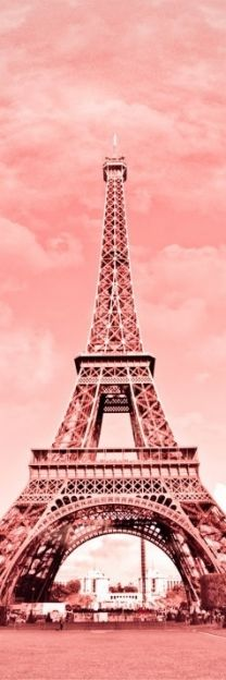 pink Eiffel tower and pink clouds www.baenk.com
