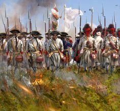 This shows french line infantry (fusiliers and grenadiers) from the Régiment Limousin marching toward its fame at the battle of Villinghausen (July. Regiment Limousin at Villinghausen 1761 American Revolutionary War, American War, Military Art, Military History, La Sarre, Frederick The Great, Seven Years' War, Age Of Empires, French Army