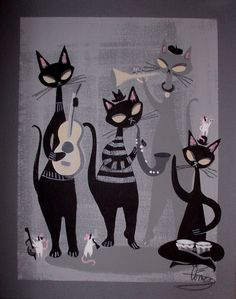 EL GATO GOMEZ PAINTING RETRO 1950S JAZZ CAT MID CENTURY MODERN BEATNIK BONGO MOD in Paintings | eBay