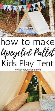 How to make a simple DIY kids play tent. This design is perfect for boys and girls and for using indoors or outdoors. Pallet Kids, Diy Pallet Projects, Projects For Kids, Diy For Kids, Wood Projects, Pallet Wood, Outdoor Pallet, Craft Projects, Childrens Tent