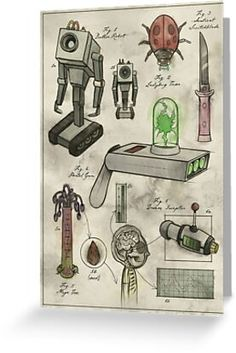 """""""Rick and Morty - Vintage Gadgets Poster by BelovedOddities Childhood Toys, Rick And Morty, Sell Your Art, Wall Tapestry, Gadgets, Greeting Cards, Prints, Poster, Futuristic"""