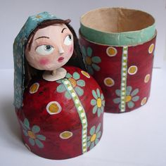 idea... use toilet paper roll maybe, make your own dolls for dollhouse and they double as a secret treasure hiding spot