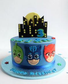the 20 Best Ideas for Pj Mask Birthday Cake . P J Masks Cake Torta Pj Mask, Pjmask Party, Cake Party, Party Ideas, Pj Masks Birthday Cake, Birthday Cake Kids Boys, Festa Pj Masks, Cake Images, 3rd Birthday Parties