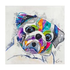 Quadro Pintura Cachorro Pug 90x90 Fullway