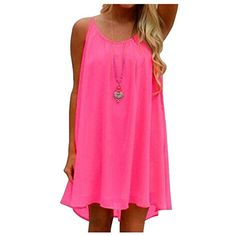 Aifer Womens Summer Chiffon Loose Spaghetti Strap Back Hollow Out Short Dress * Click image to review more details.
