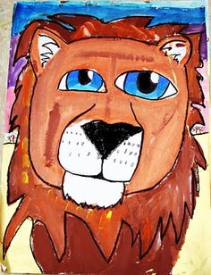 Lion painting. 3-5th grade. finish w/ black pastels for details.