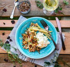 Stekt lax i gräddsås med soltorkade tomater och spenat - Landleys Kök Paella, Broccoli, Tacos, Mexican, Vegetarian, Ethnic Recipes, Desserts, Foods, God