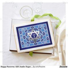 Elegant Festive Design with Star of David and Kiddush Passover Gift Jumbo Sugar Cookies. Matching cards, postage stamps and other products available in the Jewish Holidays / Passover Category of the artofmairin store at zazzle.com